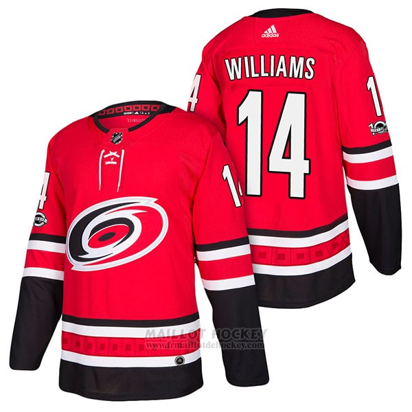 Maillot Authentique Carolina Hurricanes 14 Justin Williams Home 2018 Rouge