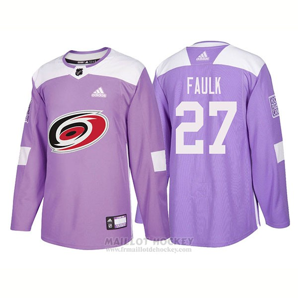 Maillot Authentique Carolina Hurricanes 27 Justin Faulk Hockey Fights Cancer 2018 Volet