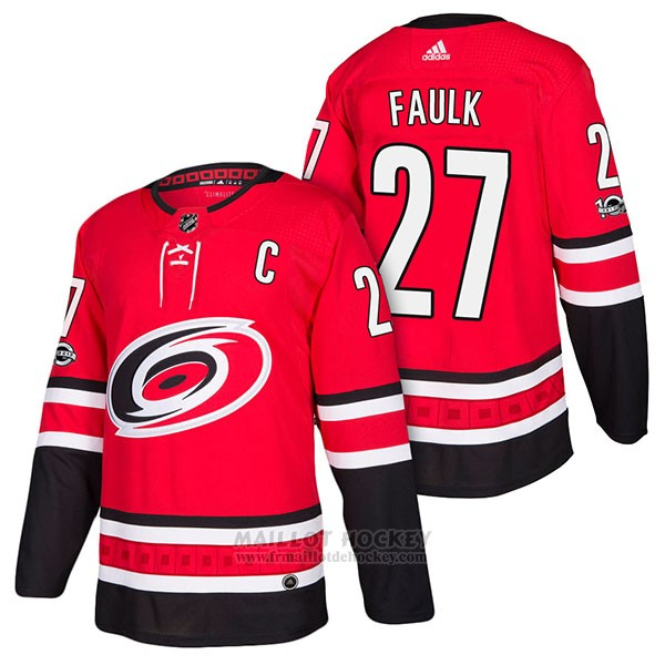 Maillot Authentique Carolina Hurricanes 27 Justin Faulk Home 2018 Rouge