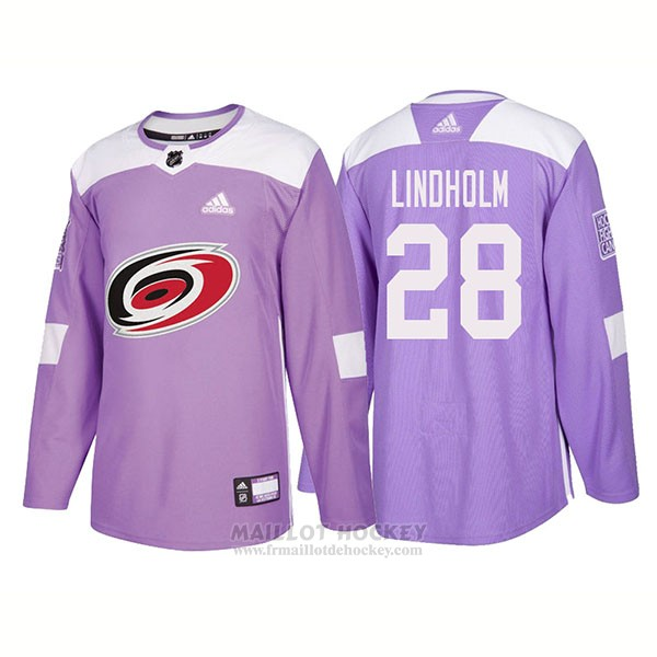 Maillot Authentique Carolina Hurricanes 28 Elias Lindholm Hockey Fights Cancer 2018 Volet