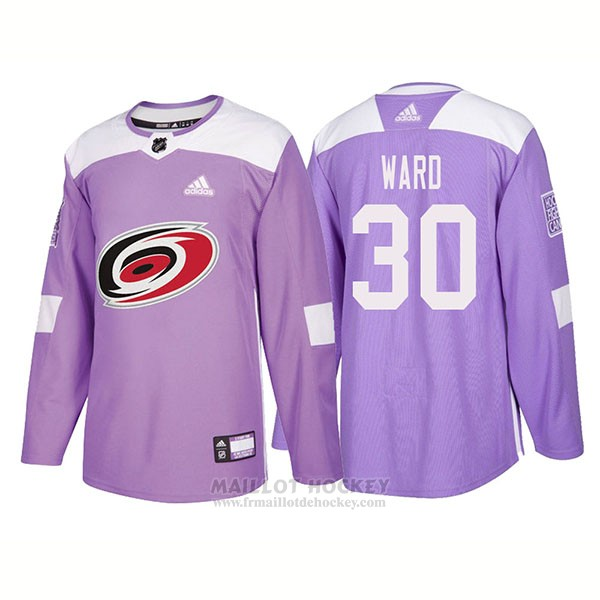 Maillot Authentique Carolina Hurricanes 30 Cam Ward Hockey Fights Cancer 2018 Volet