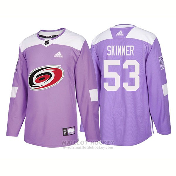 Maillot Authentique Carolina Hurricanes 53 Jeff Skinner Hockey Fights Cancer 2018 Volet