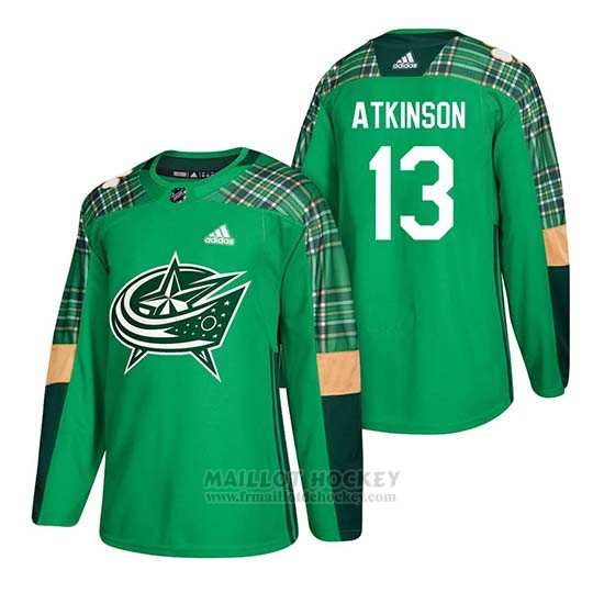 Maillot Columbus Blue Jackets Cam Atkinson 2018 St. Patrick's Day Vert