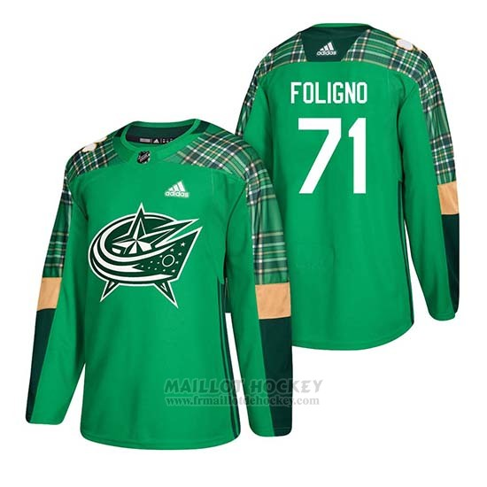Maillot Columbus Blue Jackets Nick Foligno 2018 St. Patrick's Day Vert