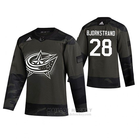 Maillot Columbus Blue Jackets Oliver Bjorkstrand 2019 Veterans Day Camouflage