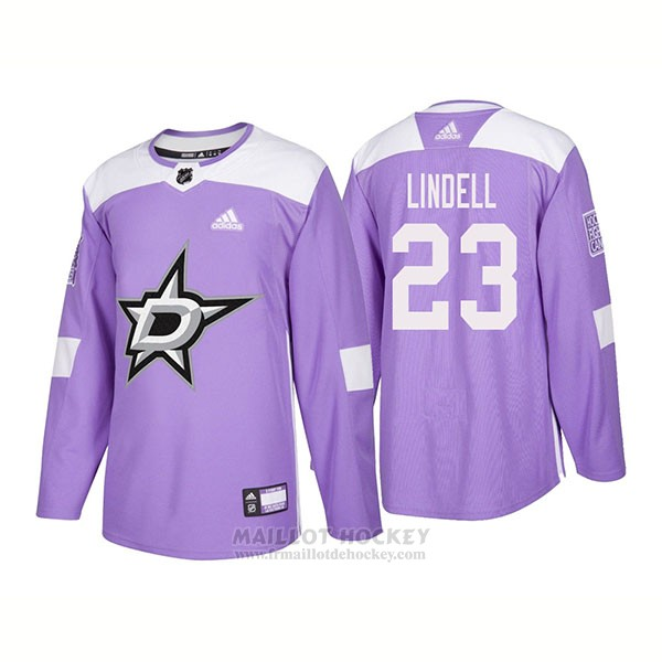 Maillot Authentique Dallas Stars 23 Esa Lindell Hockey Fights Cancer 2018 Volet