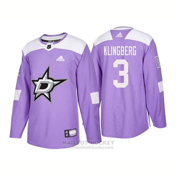 Maillot Authentique Dallas Stars 3 John Klingberg Hockey Fights Cancer 2018 Volet