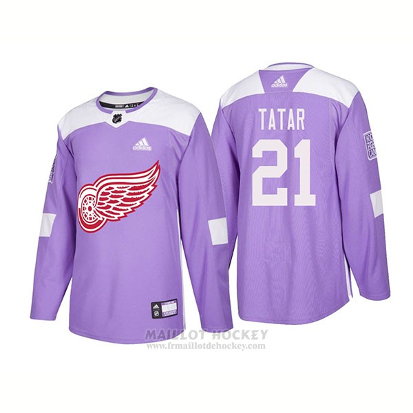 Maillot Authentique Detroit Red Wings 21 Tomas Tatar Hockey Fights Cancer 2018 Volet