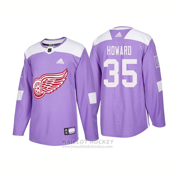 Maillot Authentique Detroit Red Wings 35 Jimmy Howard Hockey Fights Cancer 2018 Volet