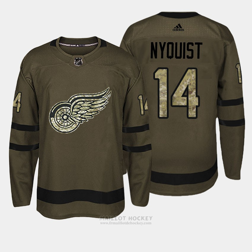 Maillot Detroit Red Wings 14 Gustav Nyquist Vert Salute To Service