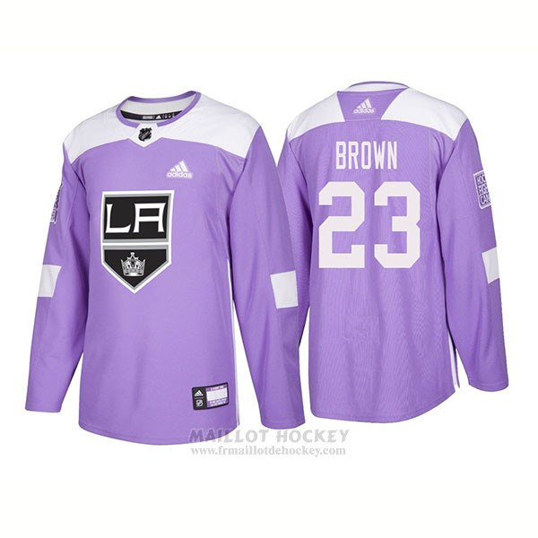 Maillot Authentique Los Angeles Kings 23 Dustin Brown Hockey Fights Cancer 2018 Volet