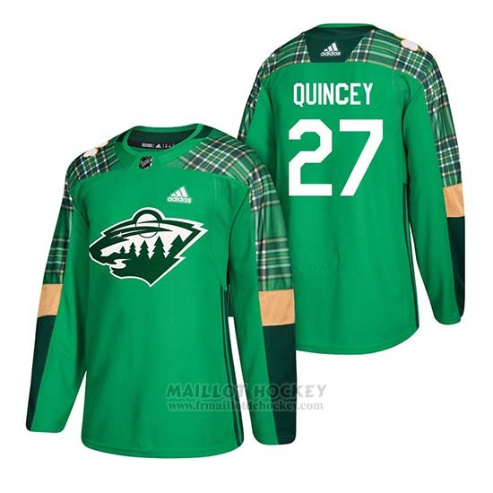 Maillot Minnesota Wild Kyle Quincey 2018 St. Patrick's Day Vert