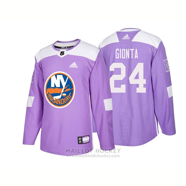 Maillot Authentique New York Islanders 24 Stephen Gionta Hockey Fights Cancer 2018 Volet