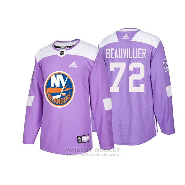 Maillot Authentique New York Islanders 72 Anthony Beauvillier Hockey Fights Cancer 2018 Volet