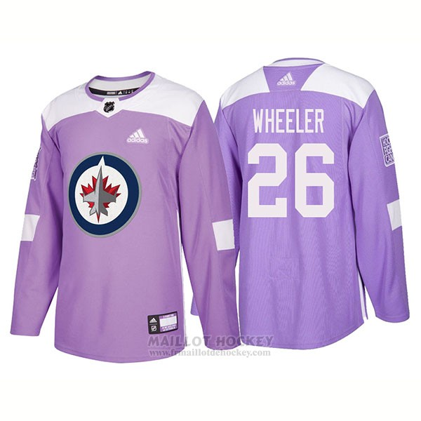 Maillot Authentique Winnipeg Jets 26 Blake Wheeler Hockey Fights Cancer 2018 Volet