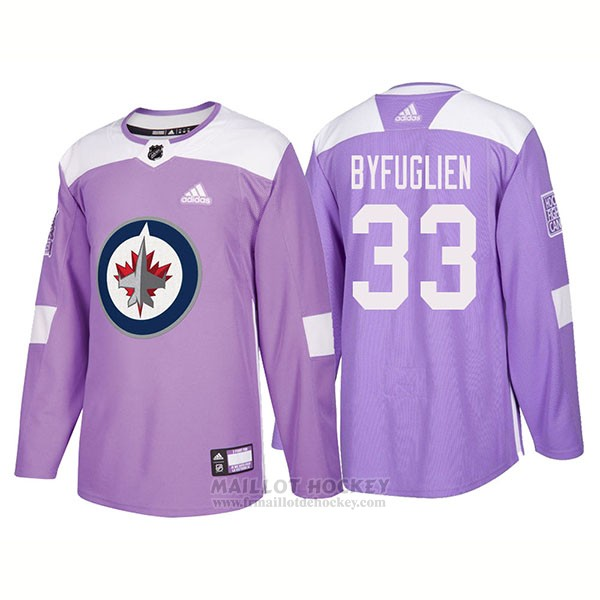 Maillot Authentique Winnipeg Jets 33 Dustin Byfuglien Hockey Fights Cancer 2018 Volet