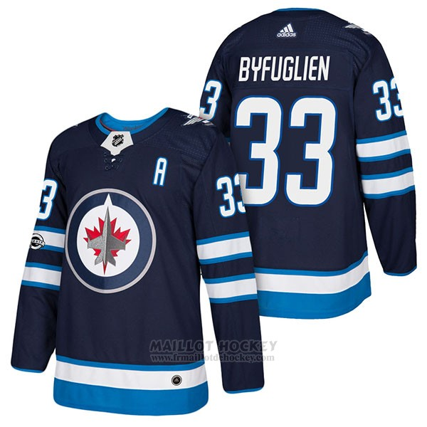 Maillot Authentique Winnipeg Jets 33 Dustin Byfuglien Home 2018 Bleu