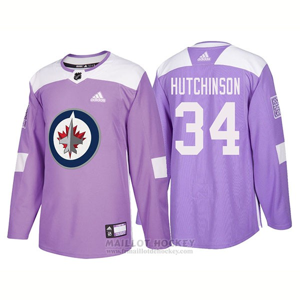 Maillot Authentique Winnipeg Jets 34 Michael Hutchinson Hockey Fights Cancer 2018 Volet