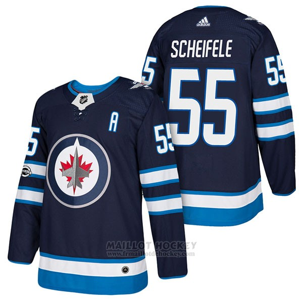 Maillot Authentique Winnipeg Jets 55 Mark Scheifele Home 2018 Bleu