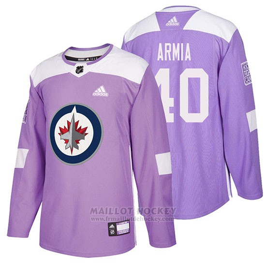 Maillot Winnipeg Jets Joel Armia Hockey Fights Cancer Volet