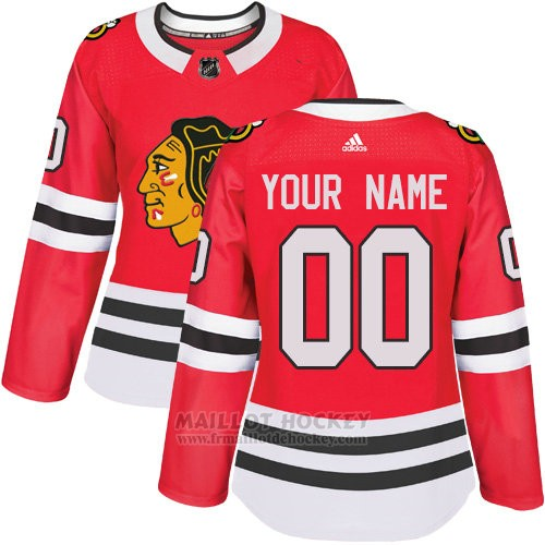 Maillot Femme Chicago Blackhawks Primera Personnalise Rouge