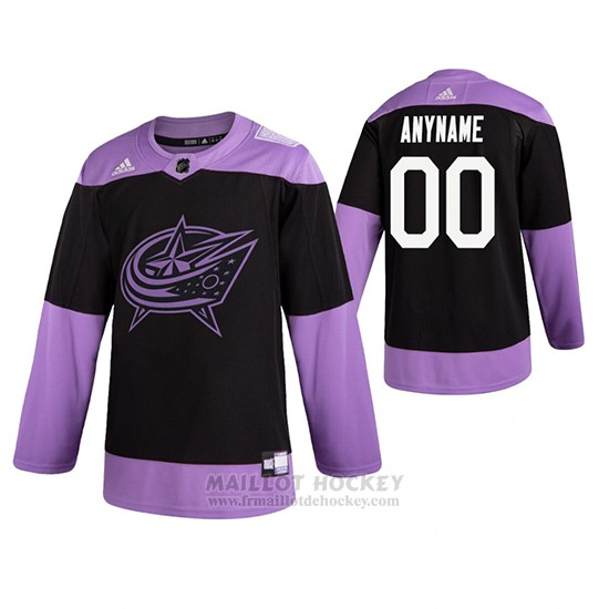 Maillot Columbus Blue Jackets Personnalise Fights Cancer Noir