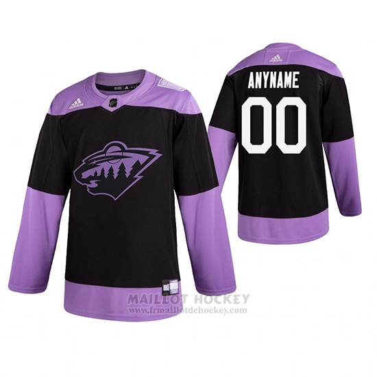 Maillot Minnesota Wild Personnalise Fights Cancer Noir